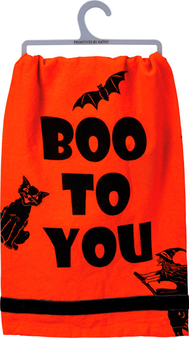 Boo To You Witch and Black Cat Halloween Kitchen Dish Towel