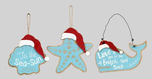 Starfish Whale Seashell in Santa Hats Christmas Holiday Ornaments Set of 3 Wood