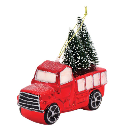 Red Pickup Truck with Trees Christmas Holiday Ornament Glass 4.5 Inches