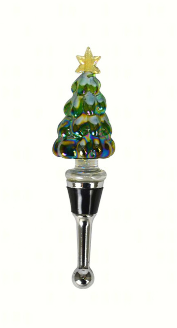 Christmas Holiday Tree with Star Glass Wine Bottle Stopper Topper
