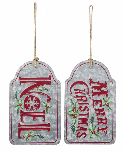 Merry Christmas and Noel Door Tags Set of 2 Metal 8.5 Inches
