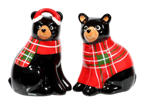 Bearly Bears in Red Winter Plaid Salt and Pepper Shakers Set