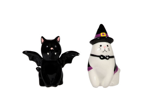 Halloween Howlers Black and White Cat Witch and Bat Salt and Pepper Shakers Set
