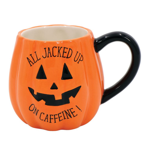 All Jacked Up on Caffine Pumpkin Halloween Coffee Tea Mug 18 Ounces