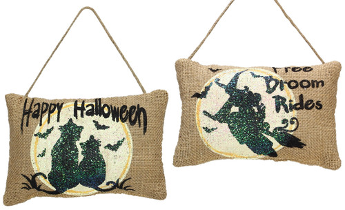 Happy Halloween Free Broom Rides Witch Cat Burlap Door Knob Hangers Set of 2