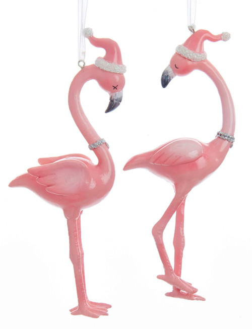 Kurt Adler Millennial Pink Flamingos in Santa Hats Holiday Ornaments Set of 2