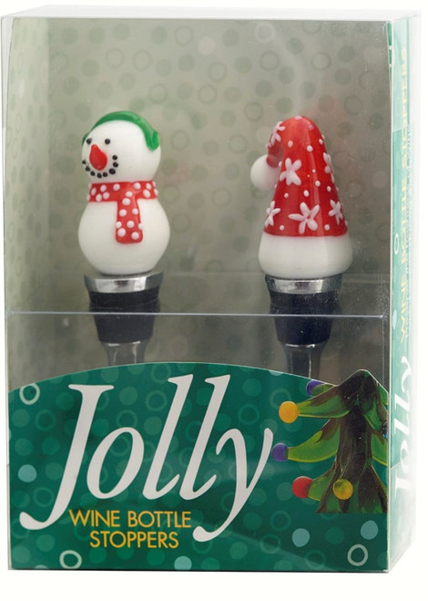 Snowman and Santa Stocking Hat Wine Bottle Toppers Stoppers Set of 2
