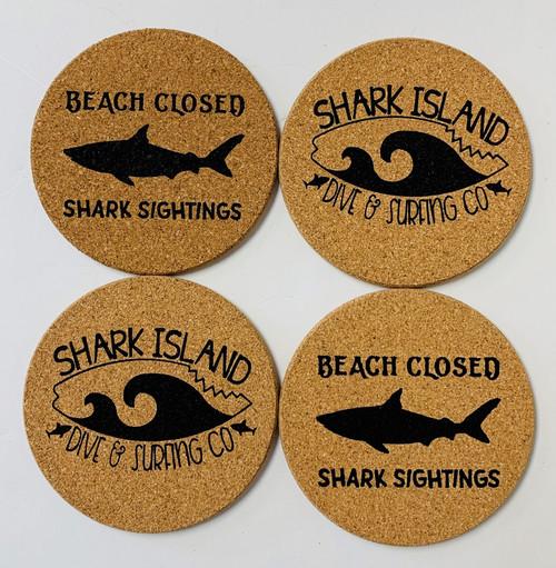 Beach Closed Shark Sightings Shark Island Dive Cork Drink Coasters Set of 4
