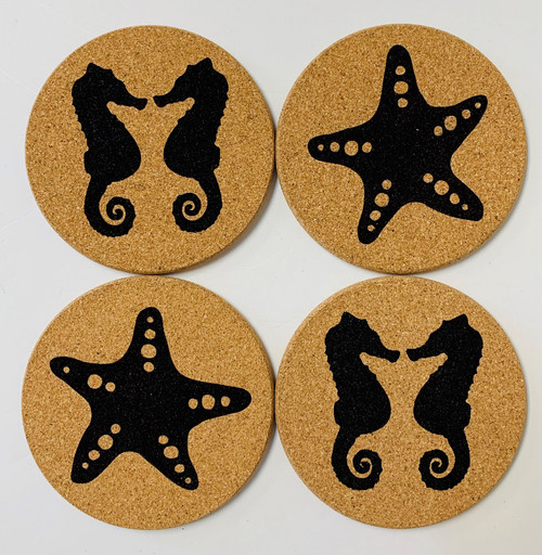 Seahorses and Starfish Cork Drink Coasters Set of 4