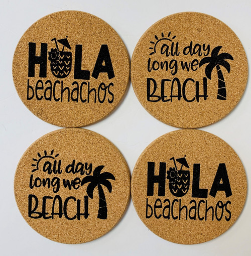 Hola Beachachos All Day Long We Beach Palm Tree Cork Drink Coasters Set of 4