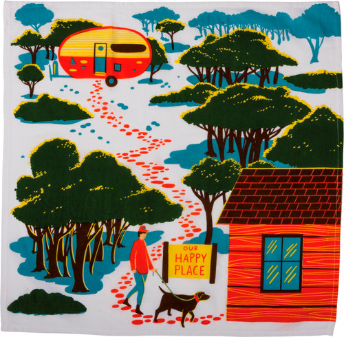 Camping Our Happy Place Kitchen Dish Towel