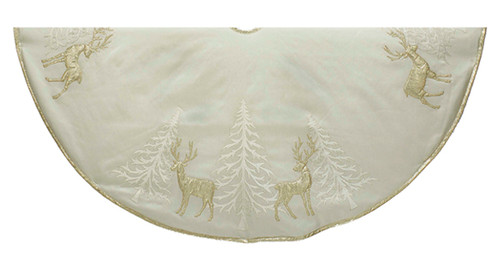 Kurt Adler Gold Trees and Reindeer Appliqued Holiday Tree Skirt 48 Inches