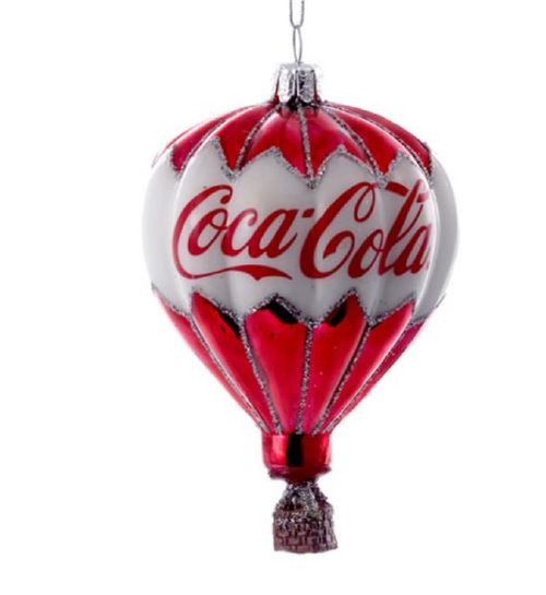 Coca Cola Hot Air Balloon Christmas Holiday Ornament Red and White Glass