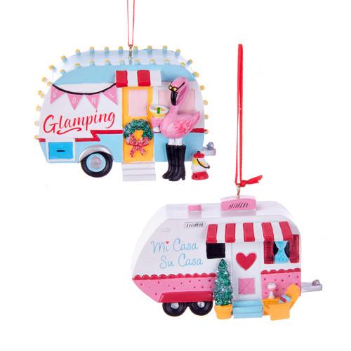 Flamingo Glamping Mi Casa Su Casa Pink Blue Campers Christmas Ornaments Set of 2
