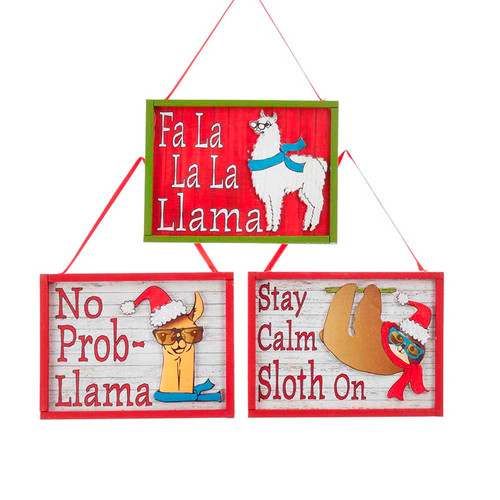 Llama and Sloth Cool Yule Framed Christmas Holiday Ornaments Set of 3 Wood