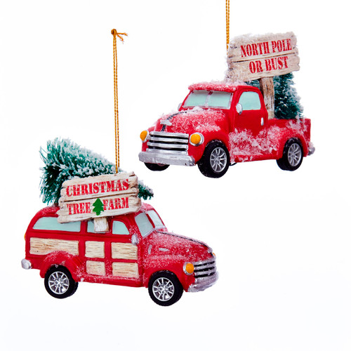 Cozy Cottage Red Woody and Pickup Truck Christmas Holiday Ornaments Set of 2