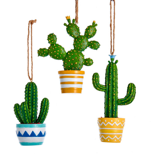 Potted Cactus Succulents Christmas Holiday Ornaments Set of 3 Resin 4 Inches