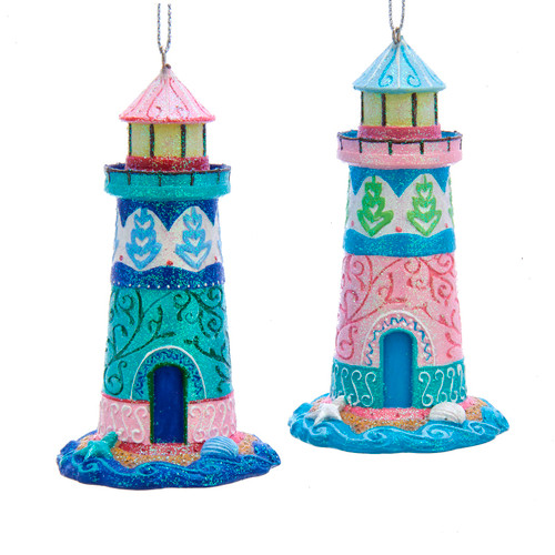 Pink and Blue Ocean Fantasy Lighthouses Christmas Holiday Ornaments Set of 2