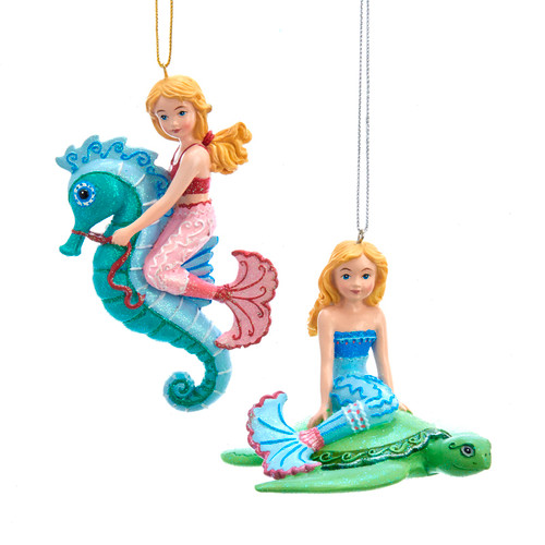 Mermaids Riding Seahorse and Sea Turtle Holiday Ornaments 3.75 Inches Set of 2