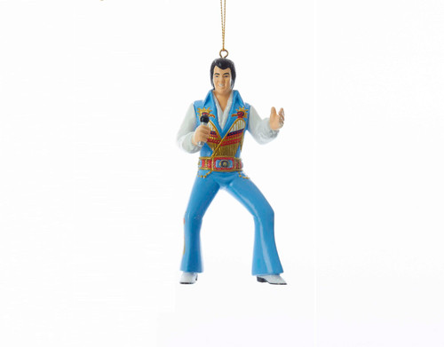 Elvis Wearing Blue Suit Christmas Holiday Ornament 4.5 Inches