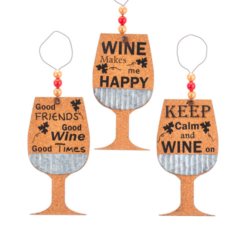Cork Wine Glass Good Friends Happy Keep Calm Christmas Holiday Ornament Set of 3
