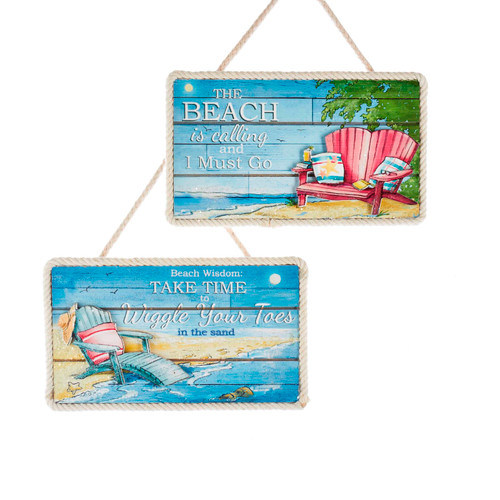 Beach is Calling Take Time Coastal Plaques Christmas Holiday Ornaments Set of 2