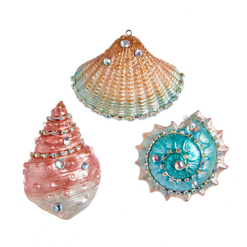 Encrusted Jeweled Seashells Pink Blue Gold Christmas Holiday Ornaments Set of 3