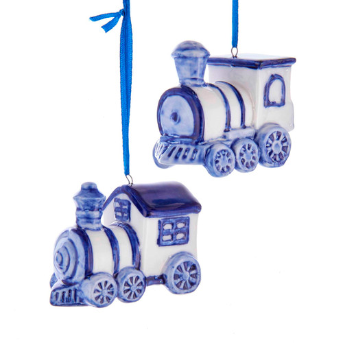 Delft Blue and White Train Christmas Holiday Ornaments Set of 2 Porcelain
