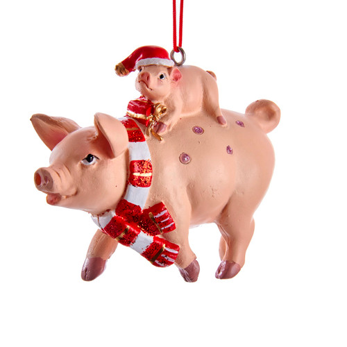 Mama Pig and Baby Piglett Christmas Holiday Ornament Resin 3.5 Inches