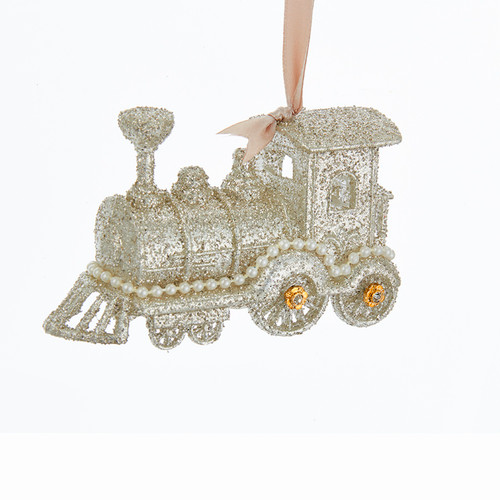 Glamour Train with Glitter Vintage Inspired Christmas Holiday Ornament 5 Inches