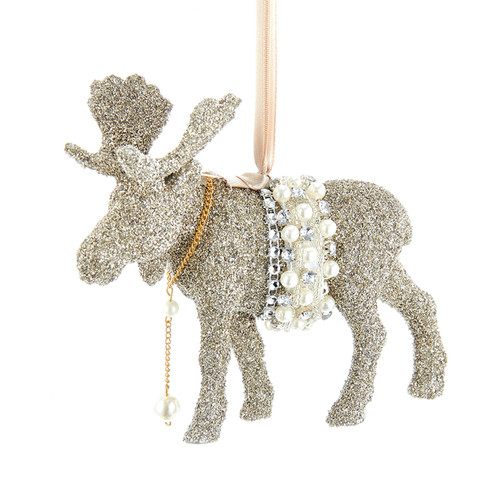 Glamour Moose Glitter Vintage Inspired Christmas Holiday Ornament 5.5 Inches