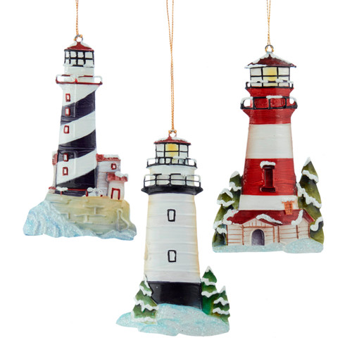 Lighthouse Christmas Holiday Ornaments Set of 3 Tin 5.25 Inches