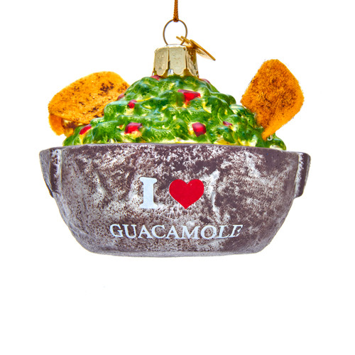 Noble Gems Guacamole Bowl with Chips Christmas Holiday Ornament 4.25 Inches