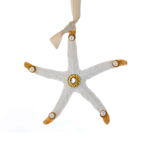 White and Golden Starfish Christmas Holiday Ornament 5 Inches