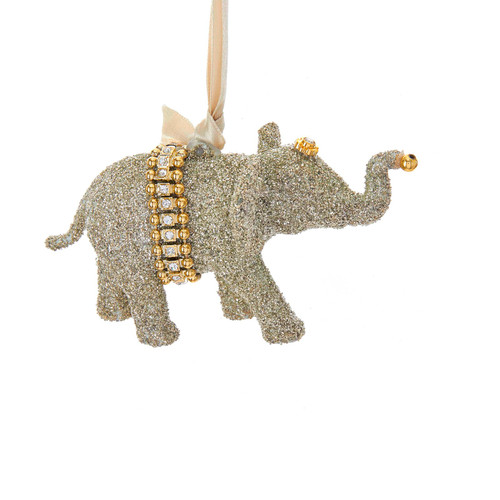 Glitter Elephant Christmas Holiday Ornament 5.5 Inches