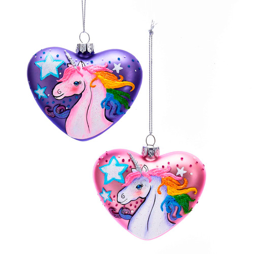 Hearts with Unicorns Christmas Holiday Ornaments Set of 2 Glass 3 Inches