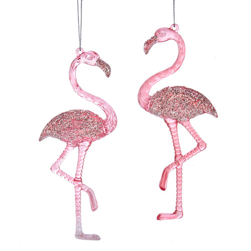Glittery Pink Flamingo Christmas Holiday Ornaments Set of 2
