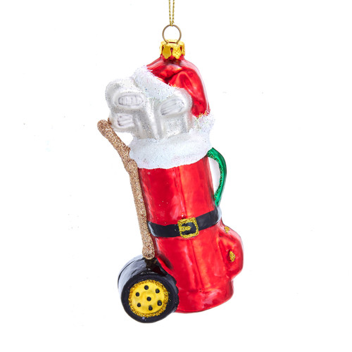 Golf Bag with Santa Hat Christmas Holiday Ornament Glass 5 Inches