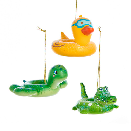 Ducky Sea Turtle Crocodile Pool Float Christmas Holiday Ornaments Set of 3 Resin