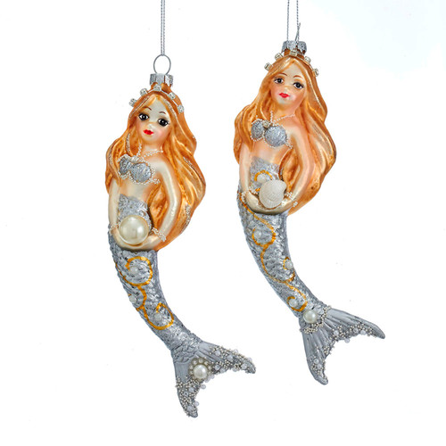 Silver and Gold Mermaid Christmas Holiday Ornaments Set of 2