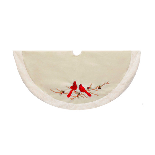 Red Songbird Cardinals on White Christmas Holiday Tree Skirt 48 Inches