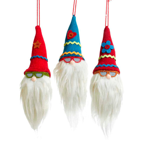 Gnome Heads Wearing Stocking Hats and Sunglasses Holiday Ornaments Set of 3