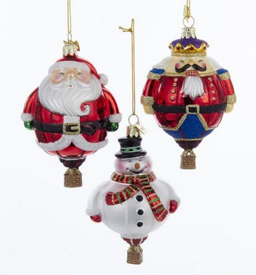 Noble Gems Hot Air Balloons Santa Nutcracker and Snowman Ornaments Set of 3