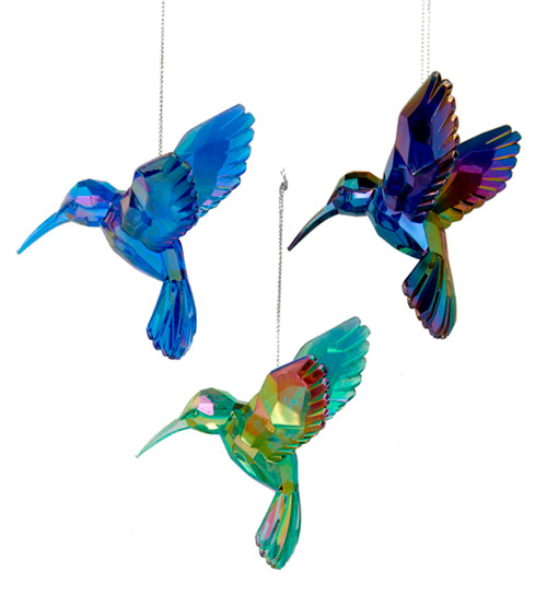 Acrylic Green Blue and Purple Hummingbirds Holiday Ornaments Set of 3