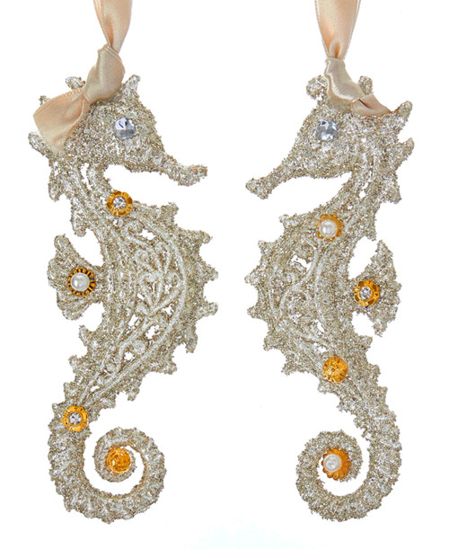 Kurt Adler Vintage Style Glamour Seahorses Holiday Ornaments Set of 2