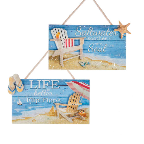 Saltwater and Flip Flops Coastal Plaques Christmas Holiday Ornaments Set of 2