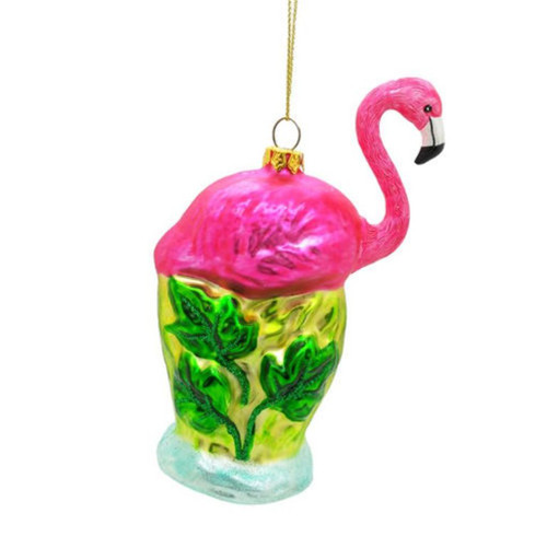 Hot Pink Flamingo Christmas Holiday Ornament Glass 5.25 Inches