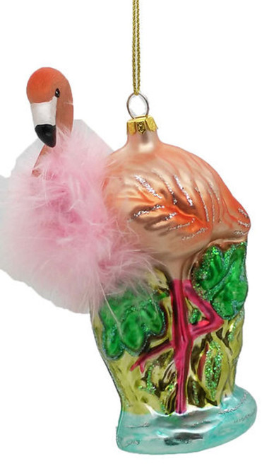 Pink Flamingo with Feather Boa Christmas Holiday Ornament
