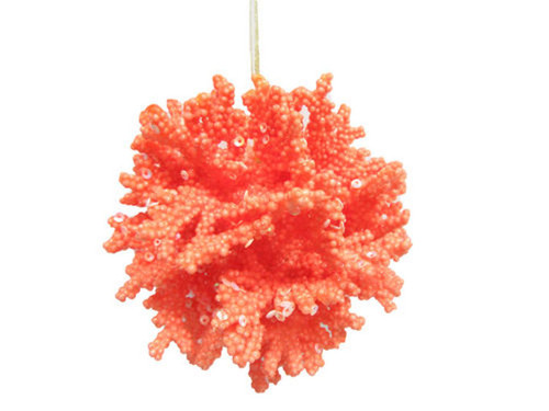 Ocean Coral Orange Ball Christmas Holiday Ornament