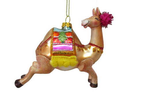 Camel with Rainbow Blanket Christmas Holiday Ornament Glass